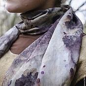 """Аксессуары ручной работы. Ярмарка Мастеров - ручная работа Шелковый шарф """"Следы"""" (эко-принт). Handmade."""
