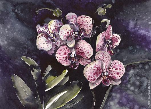 Картины цветов ручной работы. Ярмарка Мастеров - ручная работа. Купить Картина акварелью с цветами орхидеи - Орхидея в ночи. Handmade.