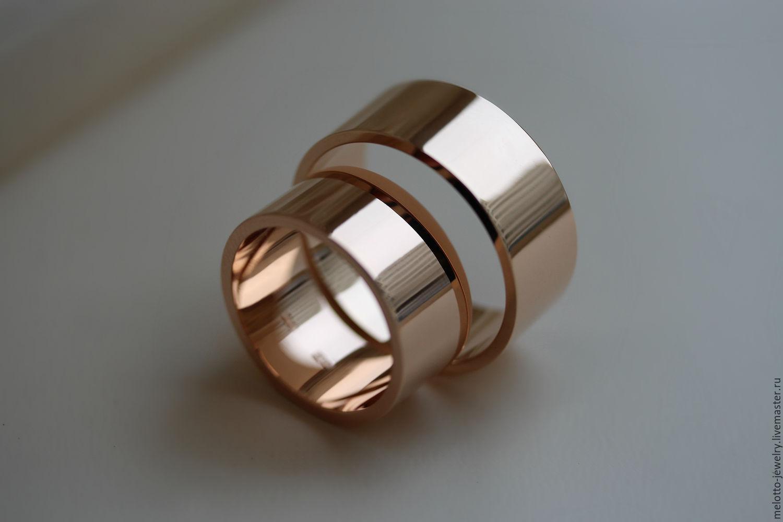 Обручальные золотые кольца широкие