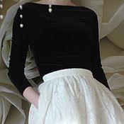 Одежда ручной работы. Ярмарка Мастеров - ручная работа Топ с длинным рукавом черный бархатный Черно-белое кино. Handmade.