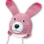 """Работы для детей, ручной работы. Ярмарка Мастеров - ручная работа Шапочка для девочки """"Зайка розовая"""" вязаная, детская, осенняя, весення. Handmade."""