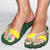 Обувь ручной работы handmade. Livemaster - original item leather sandals mood green with yellow. Handmade.