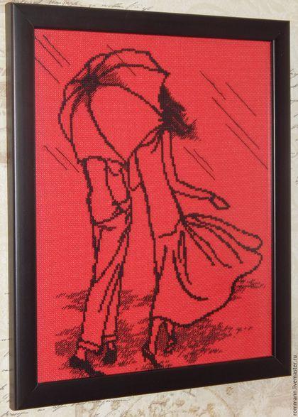 """Люди, ручной работы. Вышивка крестом """"Пара под зонтом"""". Марина. Интернет-магазин Ярмарка Мастеров. Подарок, подарок женщине"""