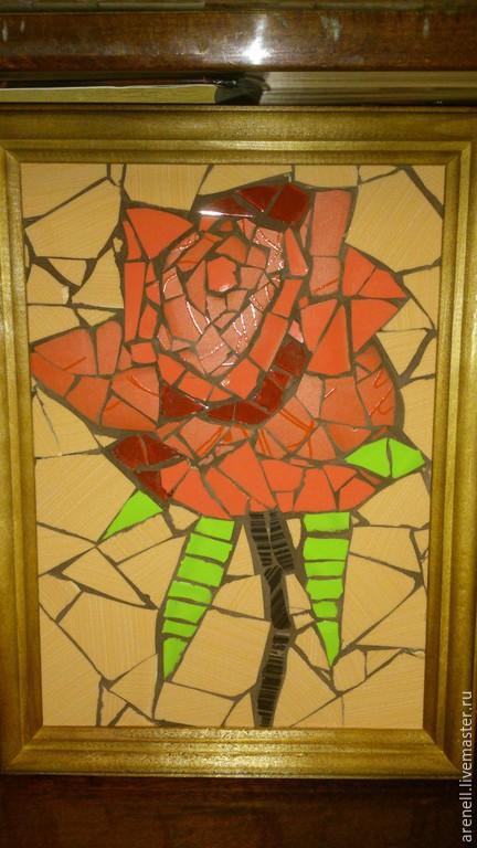 Картины цветов ручной работы. Ярмарка Мастеров - ручная работа. Купить Роза. Handmade. Мозаика, панно, роза, цвета