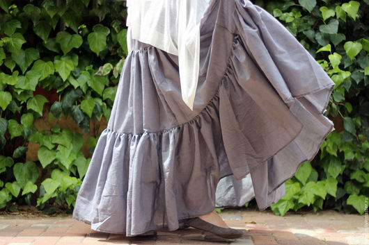 Юбки ручной работы. Ярмарка Мастеров - ручная работа. Купить Длинная летняя воздушная юбка светло-серая. Handmade. Серый