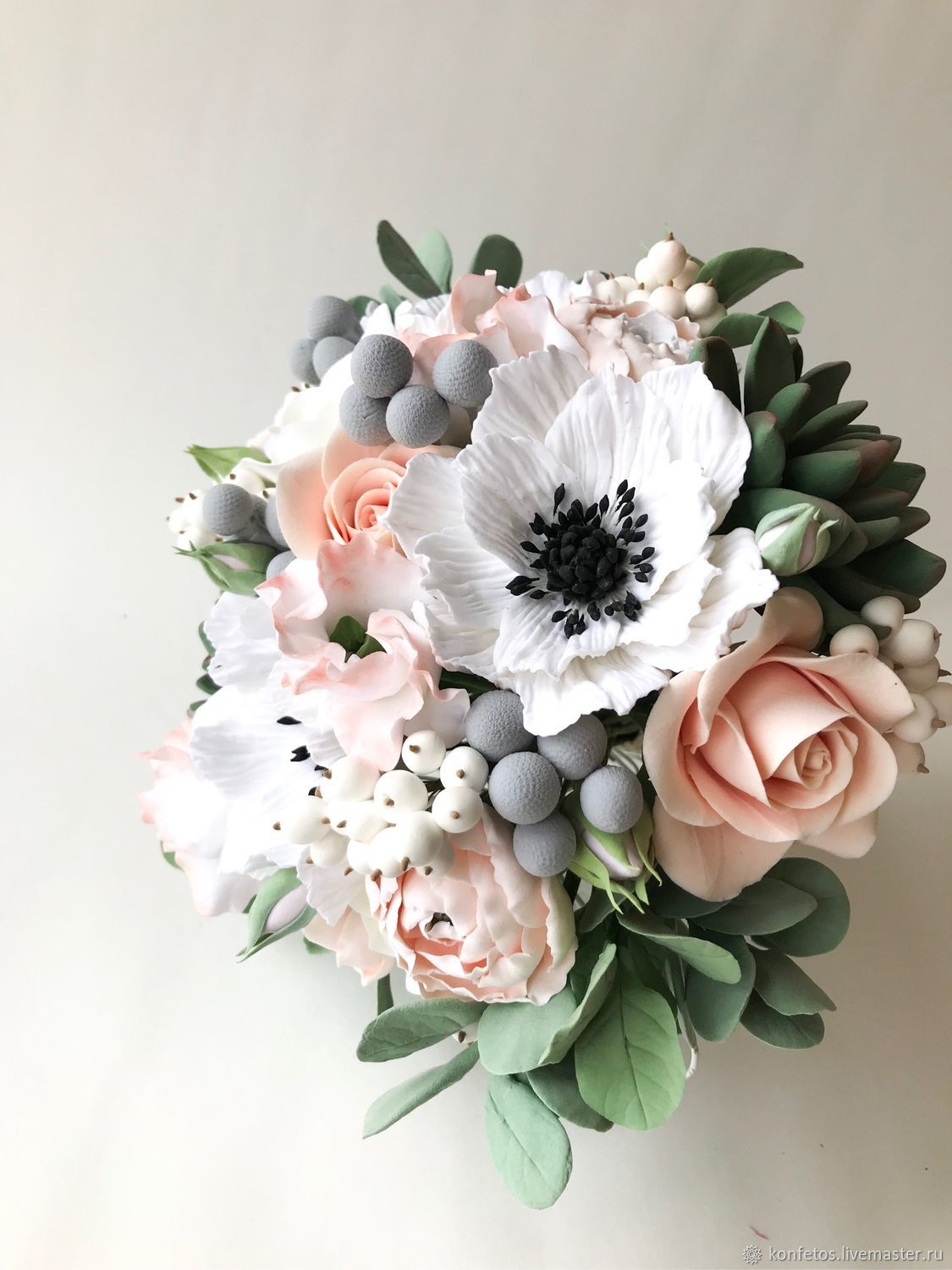 Bridal bouquet with anemones, succulents and roses, Wedding bouquets, Voskresensk,  Фото №1