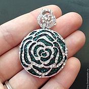 Материалы для творчества handmade. Livemaster - original item Pendant art. 7-67A in the form of a flower with green cubic Zirconia. Handmade.