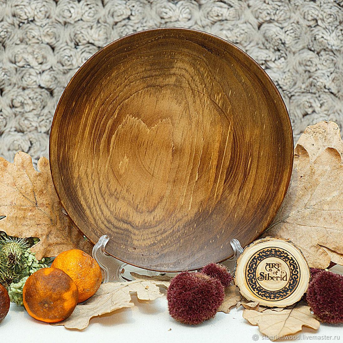 Тарелка плоская из Пихты Сибирской 20,5 см из дерева #T59, Тарелки, Новокузнецк,  Фото №1
