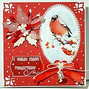 Открытки ручной работы. Ярмарка Мастеров - ручная работа Поздравительная открытка : С Новым годом и Рождеством. Handmade.