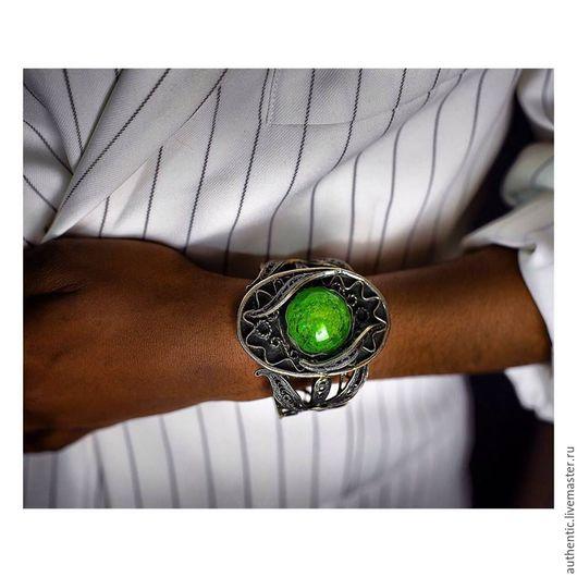 Браслеты ручной работы. Ярмарка Мастеров - ручная работа. Купить Мельхиоровый браслет с зеленым кварцем. Handmade. Зеленый, зеленый кварц