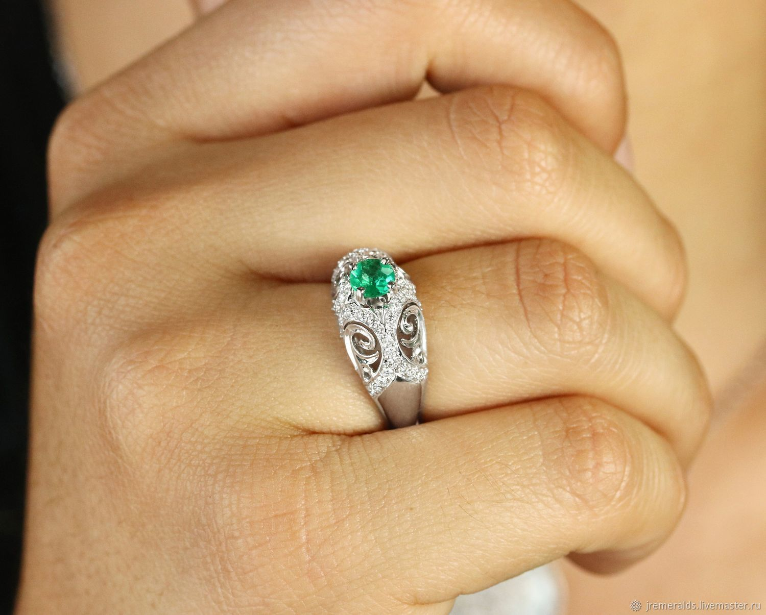 14K White Unique Emerald Ring Emerald Diamond Statement Ring Moder, Rings, West Palm Beach,  Фото №1