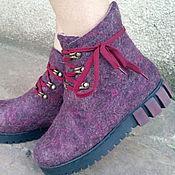 """Обувь ручной работы. Ярмарка Мастеров - ручная работа Эко ботиночки  из шерсти """"Баклажанчики"""". Handmade."""