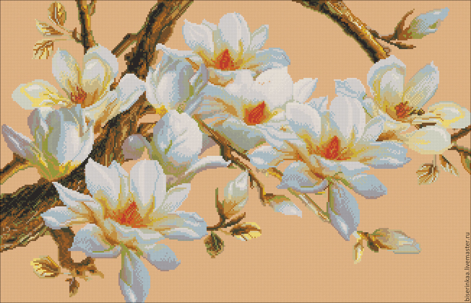 The scheme for embroidery with beads `Magnolia on a branch`