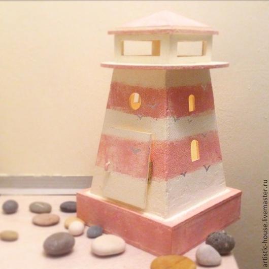 Освещение ручной работы. Ярмарка Мастеров - ручная работа. Купить Маяк-малыш розовый. Handmade. Бледно-розовый, морская тема