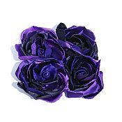 """Брошь-булавка ручной работы. Ярмарка Мастеров - ручная работа Чайная роза «Аметистос» тёмная («Tea Rose «Amethystos"""" dark). Handmade."""