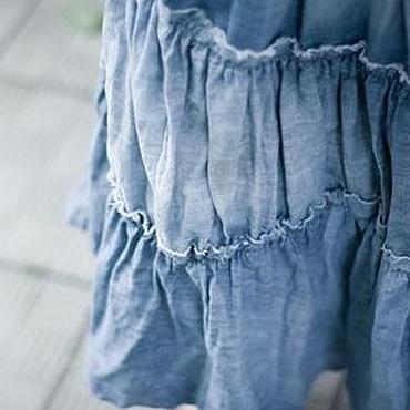 Одежда ручной работы. Ярмарка Мастеров - ручная работа Юбка бохо-джинс (светлая). Handmade.