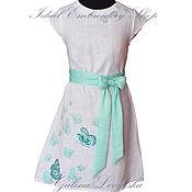Одежда ручной работы. Ярмарка Мастеров - ручная работа Льняное платье с ручной вышивкой Бабочки. Handmade.