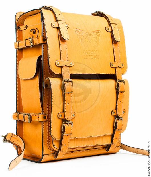 """Рюкзаки ручной работы. Ярмарка Мастеров - ручная работа. Купить Мужской кожаный рюкзак """"Легион"""" желтый. Handmade. Желтый"""