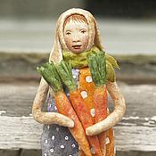 Подарки к праздникам ручной работы. Ярмарка Мастеров - ручная работа Ватная игрушка на ёлку Заяц с морковками. Handmade.