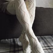 """Чулки ручной работы. Ярмарка Мастеров - ручная работа Чулки вязаные """"Белый лотос"""". Handmade."""