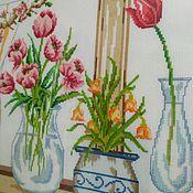 Весенние цветы. Ручная вышивка.
