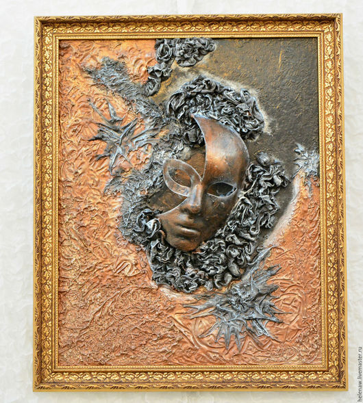 """Абстракция ручной работы. Ярмарка Мастеров - ручная работа. Купить 3D картина """"Маска"""". Handmade. Паверпол, картина, черный, паверпол"""
