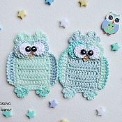 Материалы для творчества handmade. Livemaster - original item Crocheted owl applique. Handmade.