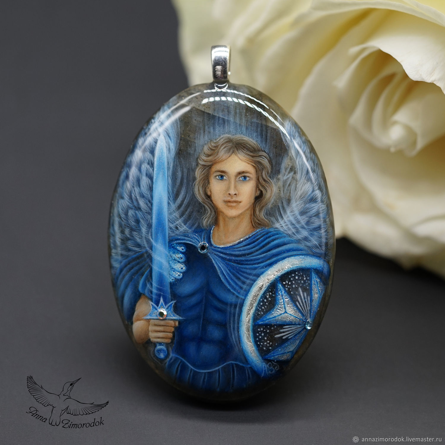 Pendant painted on the stone of the Archangel Michael amulet miniature on lapis lazuli, Pendants, Moscow,  Фото №1