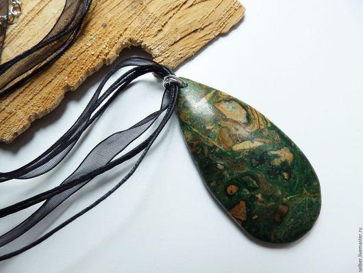 Кулоны, подвески ручной работы. Ярмарка Мастеров - ручная работа. Купить Кулон Древний океан (Риолит) 2. Handmade. Зеленый
