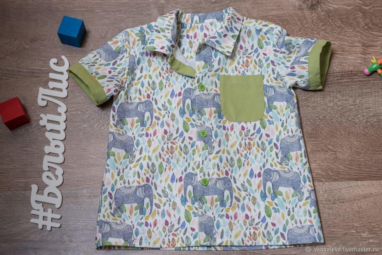 """Одежда для мальчиков, ручной работы. Ярмарка Мастеров - ручная работа. Купить """"Слоники"""". Handmade. Рубашка для мальчика, 100% хлопок"""