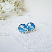 Украшения handmade. Livemaster - original item Earring studs 10 mm (studs) a bit of Blue Sky and White Clouds. Handmade.