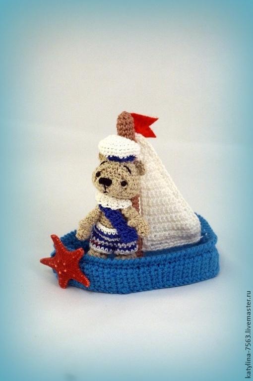 Игрушки животные, ручной работы. Ярмарка Мастеров - ручная работа. Купить Мишка в лодке. Handmade. Мишка ручной работы