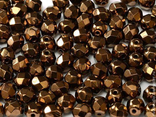 Для украшений ручной работы. Ярмарка Мастеров - ручная работа. Купить Чешские граненые бусины 4 мм Bronze Fire polished beads. Handmade.