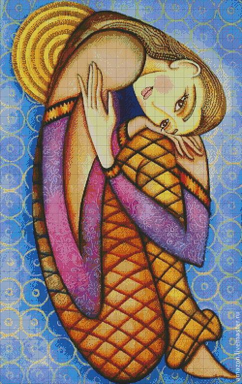 """Вышивка ручной работы. Ярмарка Мастеров - ручная работа. Купить Набор для  вышивания бисером """"Девушка""""  худ. Холли Сьерра. Handmade."""