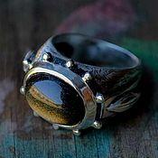 Украшения handmade. Livemaster - original item Silver ring natural obsidian stone, silver ring. Handmade.