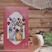 Открытки ручной работы. Ярмарка Мастеров - ручная работа Открытки ручной работы с вышивкой на любовную тематику. Handmade.