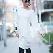 Одежда handmade. Livemaster - original item Stylish cotton tunic with long sleeves - TU0519PM. Handmade.