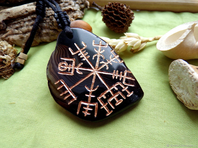 Vegvisir amulet on black ocular agate, Amulet, Ekaterinburg,  Фото №1
