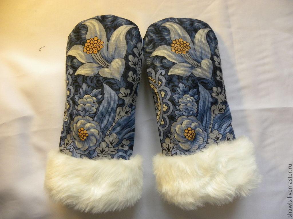 Варежки, митенки, перчатки ручной работы. Ярмарка Мастеров - ручная работа. Купить Варежки с белым мехом искусственным. Handmade. рукавицы