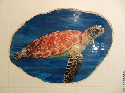 """Животные ручной работы. Ярмарка Мастеров - ручная работа. Купить мозаика """"морская черепаха"""". Handmade. Мозаика из стекла, черепаха"""