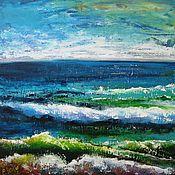 Картины и панно handmade. Livemaster - original item Abstract acrylic seascape painting Living room wall art Blue painting. Handmade.