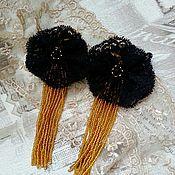 Украшения handmade. Livemaster - original item Bead earrings and lace - Night flowers. Handmade.