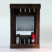 Для дома и интерьера ручной работы. Ярмарка Мастеров - ручная работа Зеркало настенное с полкой. Лофт стиль. Handmade.