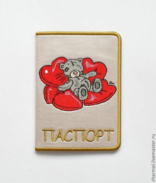 """Вышитая обложка для паспорта """"Мишка Тедди в сердечках"""".  Полезные вещицы от  Шармель-ки"""