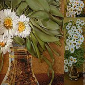 """Картины и панно ручной работы. Ярмарка Мастеров - ручная работа Гобелен вышитый  лентами """"Ромашки в вазе"""". Handmade."""