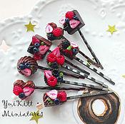 """Украшения ручной работы. Ярмарка Мастеров - ручная работа Заколки для волос """"Ягоды и Шоколад"""". Handmade."""