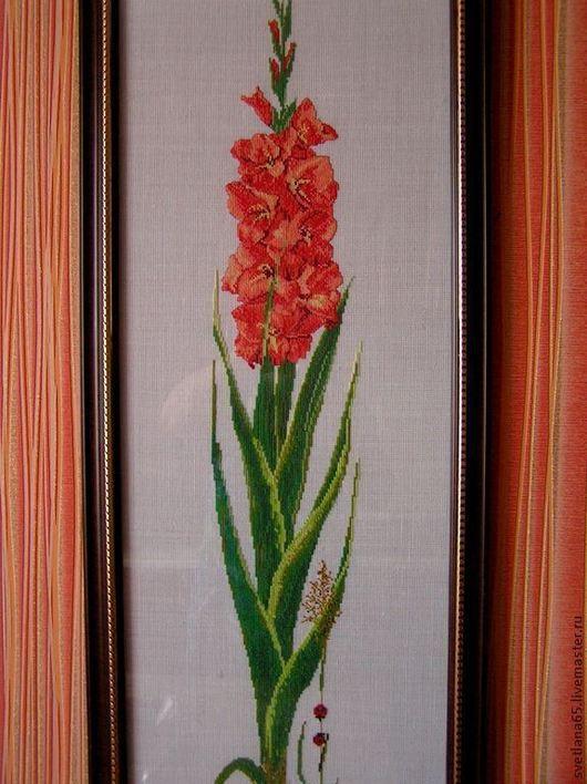 Картины цветов ручной работы. Ярмарка Мастеров - ручная работа. Купить Картина вышитая крестиком Гладиолус. Handmade. Картина
