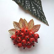 Украшения handmade. Livemaster - original item Golden Rowan brooch. Handmade.