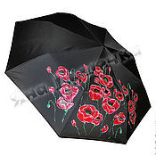 Аксессуары ручной работы. Ярмарка Мастеров - ручная работа Зонт черный складной, зонт-трость с цветами на заказ Маки. Handmade.