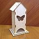 Чайный домик  (продается в разобранном виде в палетках) габарит - 13х13х24 см домик - 9х8х22,5 см,  подставки 13х13 см и 11х11 см Материал: фанера 3 мм